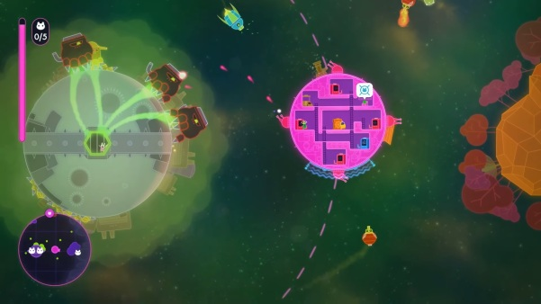 Lovers in a Dangerous Spacetime has great little design elements, like gravitational systems which allow you to orbit planetoids while you operate other stations.